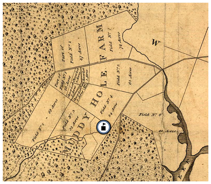 Excerpt from a map of the Mount Vernon estate drawn by George Washington showing the location of Muddy Hole Farm. A schoolhouse icon has been placed on the map showing the location of Riverside Elementary School.