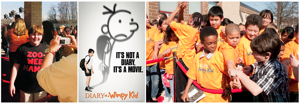 Collage of three images related to the premiere of the first Diary of a Wimpy Kid film. On the left is a picture from our yearbook of actor Robert Capron having his photograph taken in front of our school. He is wearing a black t-shirt imprinted with his character's catch phrase zoo-wee-mama. In the center of the collage is the movie poster for the film. It has a picture of actor Zachary Gordon as Greg Heffley set on a white background. His shadow is an illustration of the character as drawn by book author Jeff Kinney. The poster text reads: It's not a diary, it's a movie. The third picture, on the right, shows a group of Riverside students standing at the edge of the red carpet holding out autograph books. Actor Zachary Gordon appears to be autographing a student's arm.
