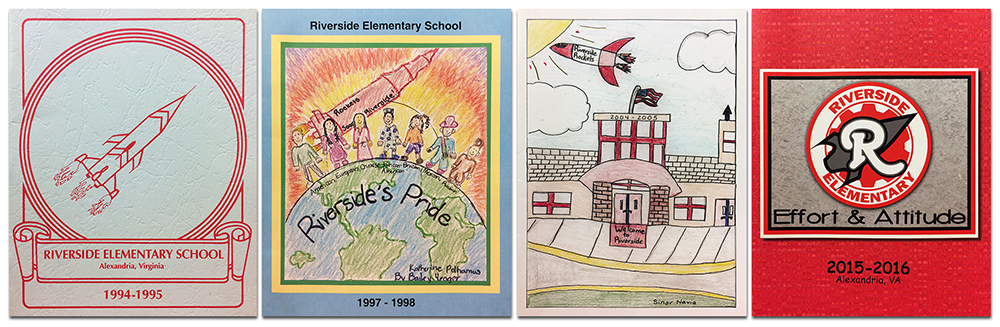 Collage showing the covers of four yearbooks. On the far left is the cover from the 1994 to 1995 school year. It is a plain white cover with an illustration of a rocket in flight. Next to it is the cover from the 1997 to 1998 school year. It is student-drawn artwork showing a rocket in flight above the Earth. Six students, representing different nations, stand on top of the planet. Next is the cover of our 2004 to 2005 yearbook. It is a student-drawn illustration of the front of our school with a rocket in flight in the sky above. On the far right is our cover from 2015 to 2016. It is a bright red cover with a white circle in the center. An outline of a rocket is in the center of the circle and the letter R is above it. The words Effort and Attitude are printed beneath the circle.